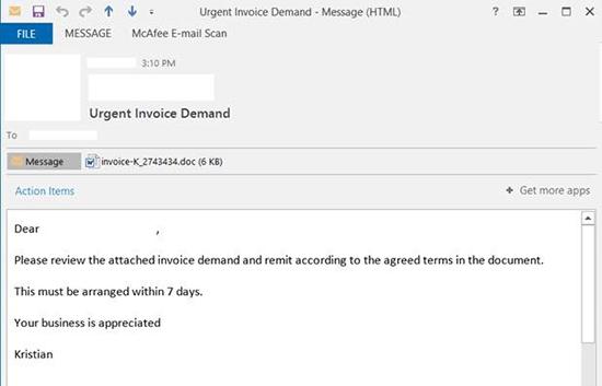 Locky Phishing Email