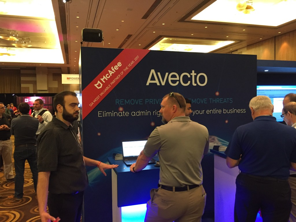 The Avecto booth at MPOWER 2017 in Las Vegas.